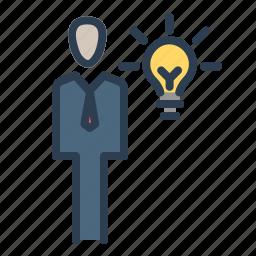 brainstorming, bulb, business idea, businessman, creativity, lamp, startup icon