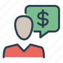 account, consultant, dollar, human, message bubble, sales, support icon