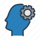 gear, head, idea, support icon