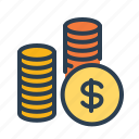 budget, business payments, cash, coins, dollar, investment, money icon