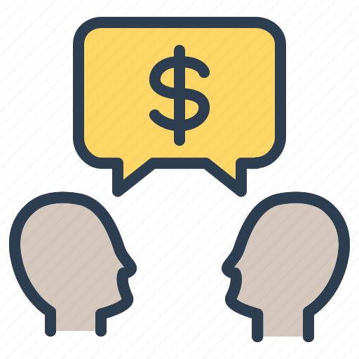 budget discussion, dialogue, dollar, strategy icon