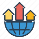 analytics, globe, network, statistics icon
