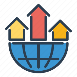 analytics, arrows, business, earth, globe, network, statistics icon