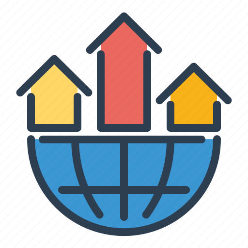 analytics, arrows, business, earth, globe, network, statistics icon