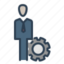 business, businessman, gear, job, settings, specialist, work icon