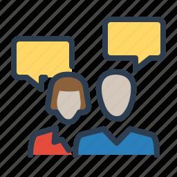 communication, conversation, couple, dialogue, gossip, speak, talk icon