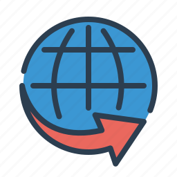 arrow, ecommerce, global, international shipping, logistic, worldwide service icon