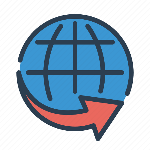 arrow, ecommerce, global, international shipping, logistic, worldwide service icon