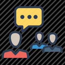 communication, conference, conversation, discuss, meeting, speech, training icon