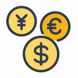 cash, coins, conversion, currency, dollar, euro, money icon