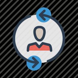 arrows, businessman, collaboration, coworking, profile, refresh, reload icon