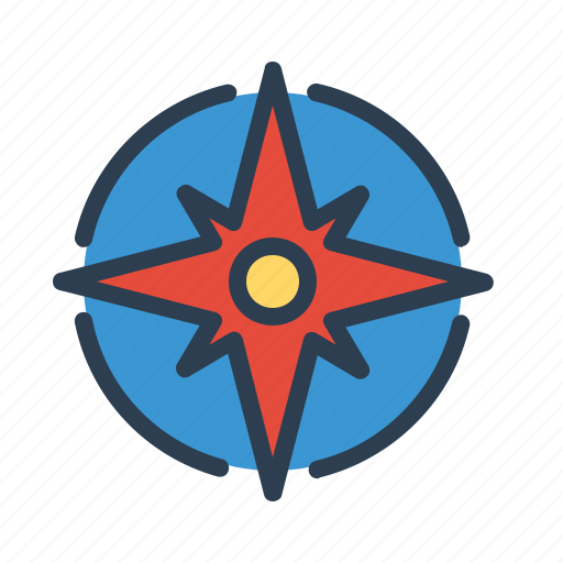 compass, direction, location, navigation, sea, star, wind rose icon