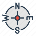 compass, direction, location, nafigation, navigate, travel, wind rose icon