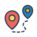 destination, direction, pin, place, road, route, travel icon