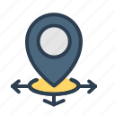 arrows, directions, navigation, pin icon