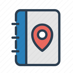 book, journey, location, log, pin, roadbook, travel icon