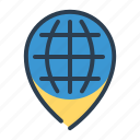earth, globe, location, pin, world icon