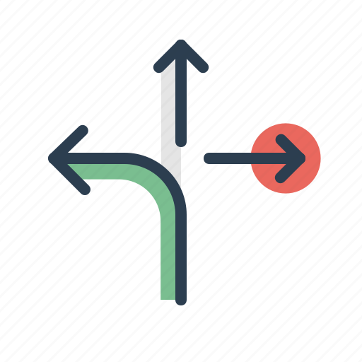 arrows, directions, left, location, navigation, path, sitemap icon