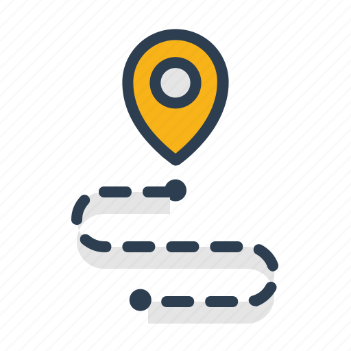 destination, location, navigation, path, pin, pointer, route icon
