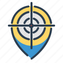 aim, location, map, pin, target icon