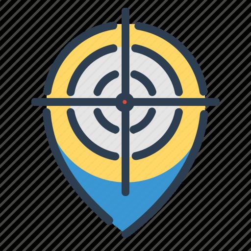 aim, bullseye, location, map, pin, pointer, target icon