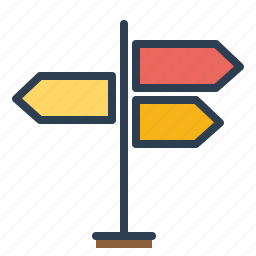 arrows, country, direction, navigation, pointer, signpost, street icon