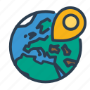 earth, location, pin, planet, world icon