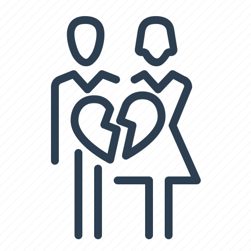 break, brokern heart, couple, divorce, divorse, family, relationship icon