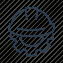 development, gear, hardhat, helmet, settings, technology, under construction icon