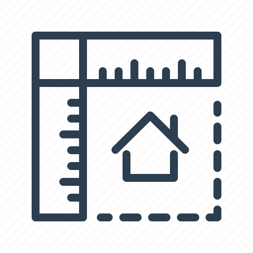 house, measurement, planning, property, real estate, rulers, sizes icon