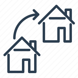 arrow, exchange, home loan, move, property, real estate, rent apartment icon