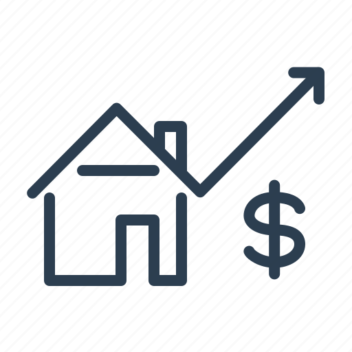 chart, dollar, growth, home facilities, house price, property, real estate icon