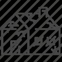 abandoned, building, damaged, house, old icon
