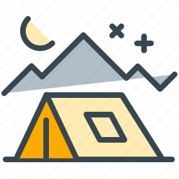 abroad, camping, moon, night, stars, tent icon