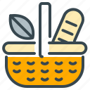 abroad, activity, basket, bread, lunch, picnic icon