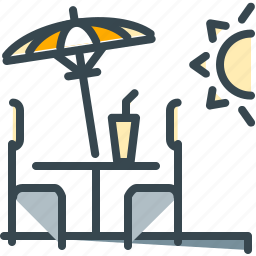 abroad, chair, relaxation, sun, table, terrace, umbrella icon