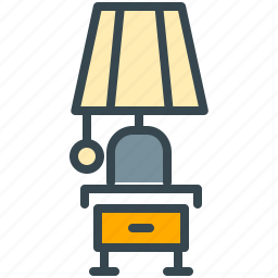 abroad, bedroom, furniture, hotel, light, table icon