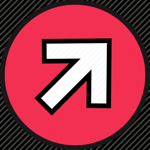arrow, go, point icon