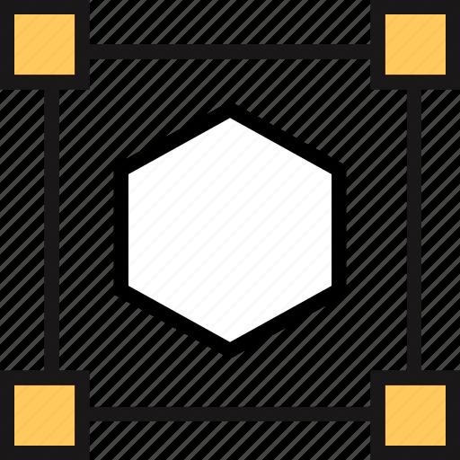 connect, dot, hexagon icon