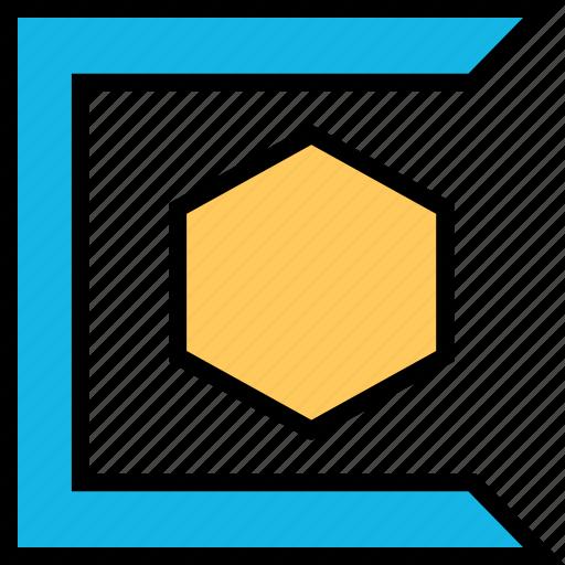 abstract, creative, hexagon, sharp icon