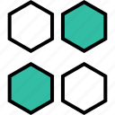 abstract, creative, four, hexagons icon