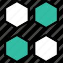 four, abstract, creative, hexagons icon