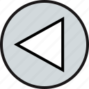 left, point, triangle icon