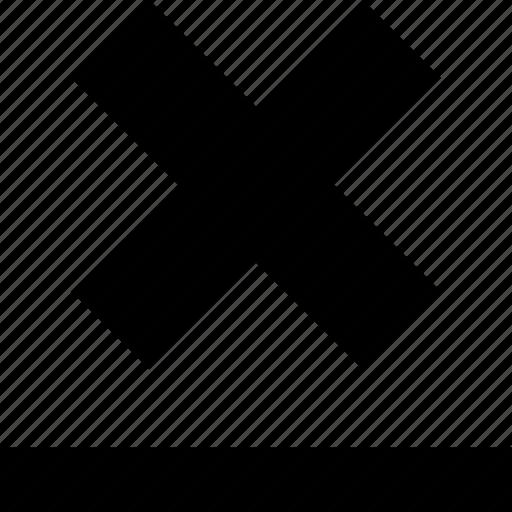 bottom, line, shadow, x icon