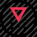 abstract, arrow, creative, design, down, shoot icon
