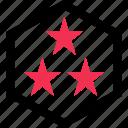 abstract, creative, design, favorite, hexagon, star, three icon