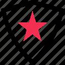 abstract, creative, design, favorite, shield, star icon