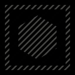 abstract, boxedin, center, creative, hexagon icon