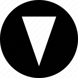 abstract, arrow, cone, creative, down, pointer icon