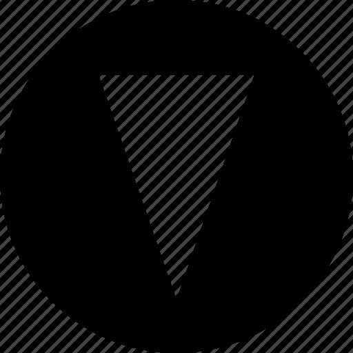 arrow, cone, creative, down, point, pointer icon